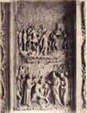 Pavia: certosa: particolare dei bassorilievi della porta principale, fondazione della certosa e approvazione della regola