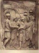 Roma: museo Capitolino: Marco Aurelio riceve il simbolo del potere imperiale (bassorilievo antico)