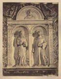 Bassorilievo di Mino del Reame, S. Girolamo e S. Bernardo: basilica di S. Maria Maggiore: Roma
