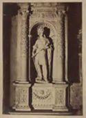 Monumento del cardinale Ascanio Sforza di Andrea Sansovino, particolare della statua della virtù a sinistra: chiesa di S. Maria del Popolo: Roma