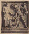 Palermo: museo: metope di Selinunte: Diana che manda i cani ad Aeteone