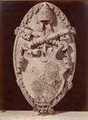 Todi: pinacoteca: stemma Ciocchi , che fù papa Giulio 3.