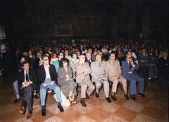 """Conferenza del Prof. Modigliani, sala dello """"Stabat Mater"""",  Archiginnasio"""