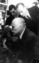[Luigi Gasparotto mentre guarda dentro ad un apparecchio scientifico: occasione del XIV congresso geografico italiano: Bologna: 8-12 aprile 1947]