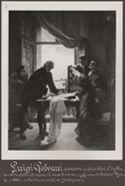 [Luigi Galvani dimostra ai familiari l'influsso della elettricità sopra le morte rane (quadro di Antonio Muzzi, 1862, nella università di bologna)]