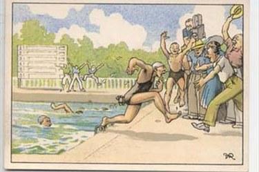 Cartolina - Primi giuochi partenopei 1939 nuoto
